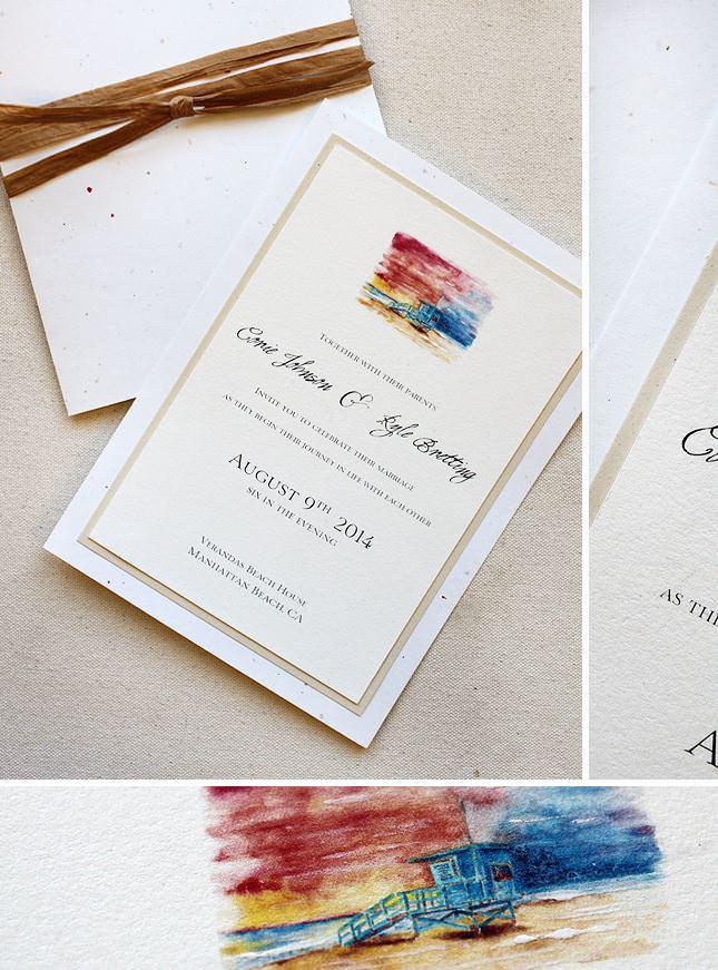 Watercolor Beach Landscape Wedding Invitations