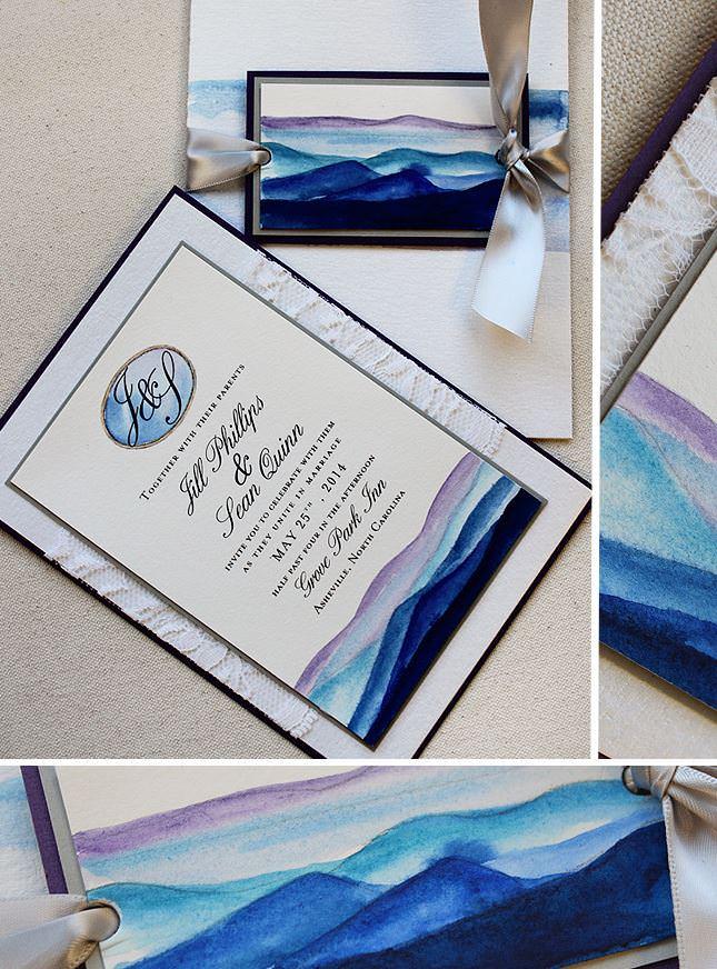 Watercolor Mountain Wedding Invitations