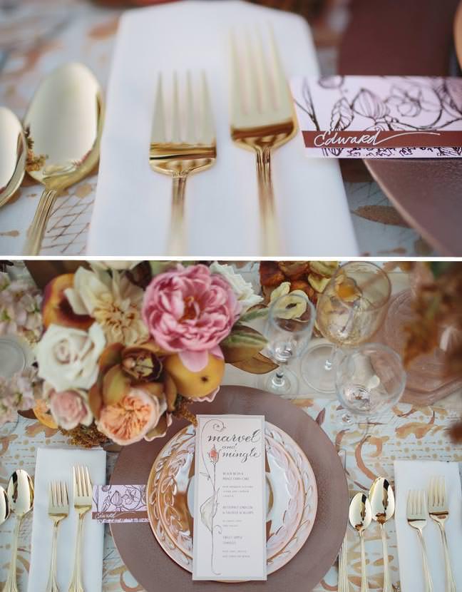 Rose Gold Foil Wedding Place Cards
