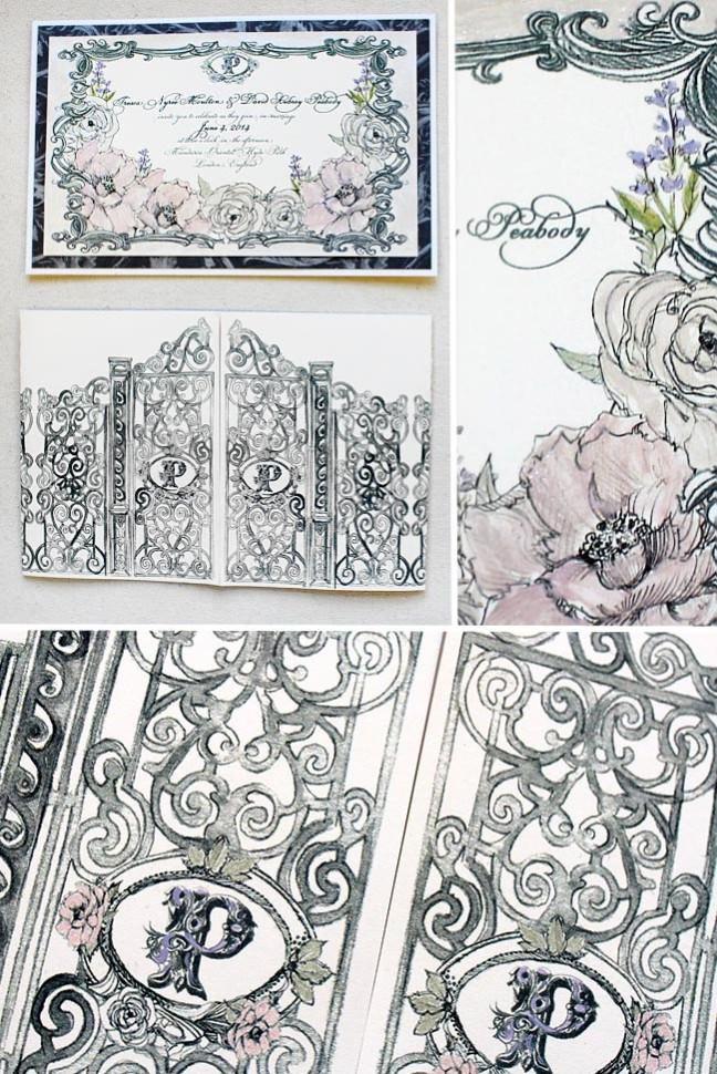 Watercolor Wrought Iron Gate Wedding Invitation