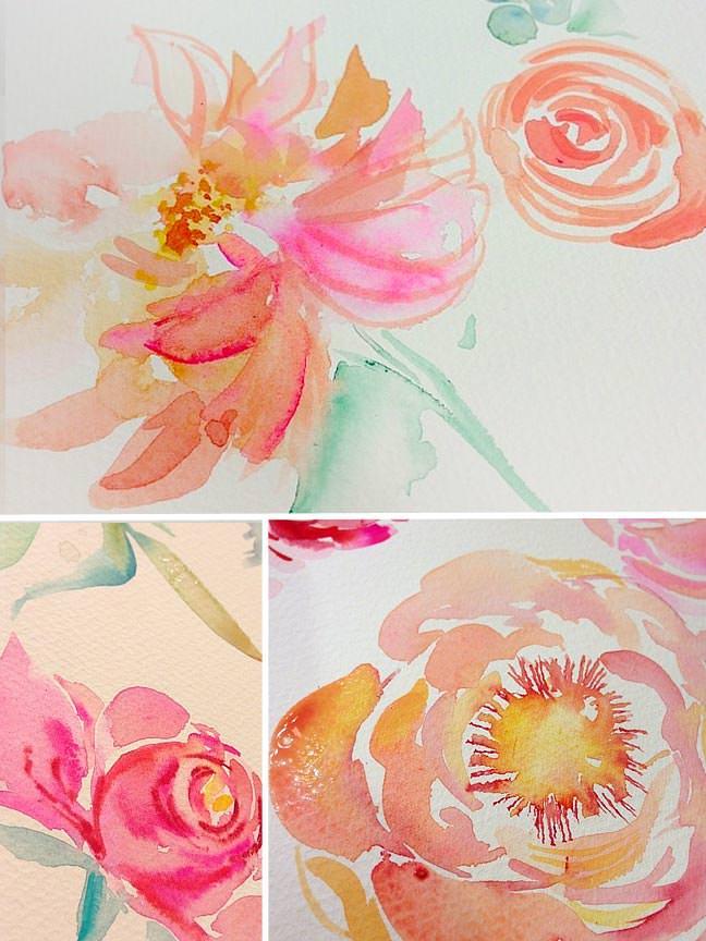 Peach Pink Watercolor Peonies