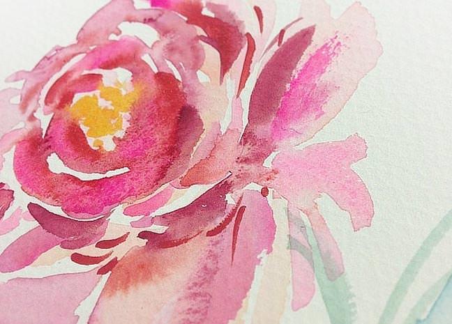 Raspberry Watercolor Peony