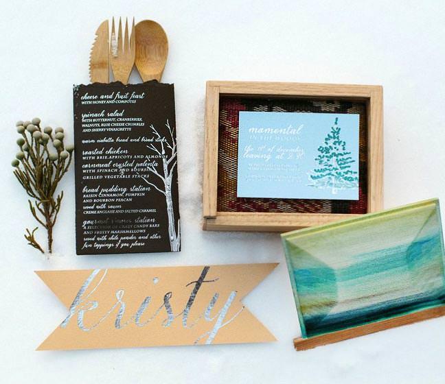 Watercolor Wood Part Invitations