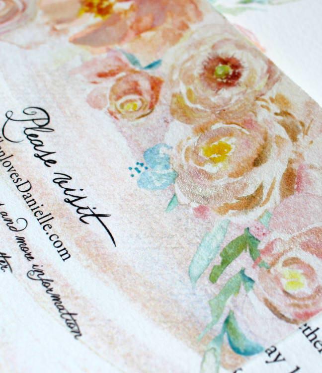 Peach Peony Watercolor Wedding Invitations