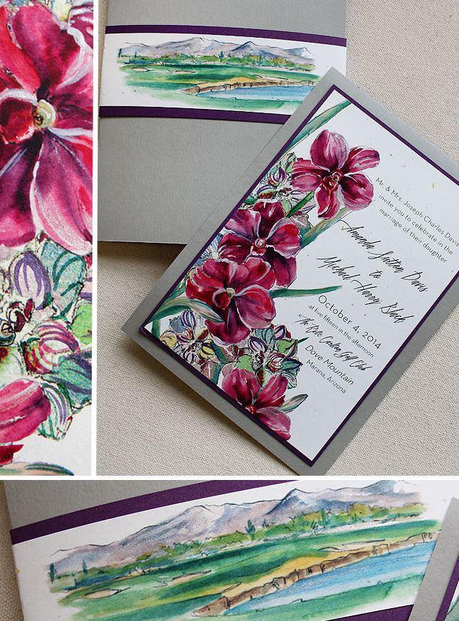 Fuchsia Orchid Wedding Invitations