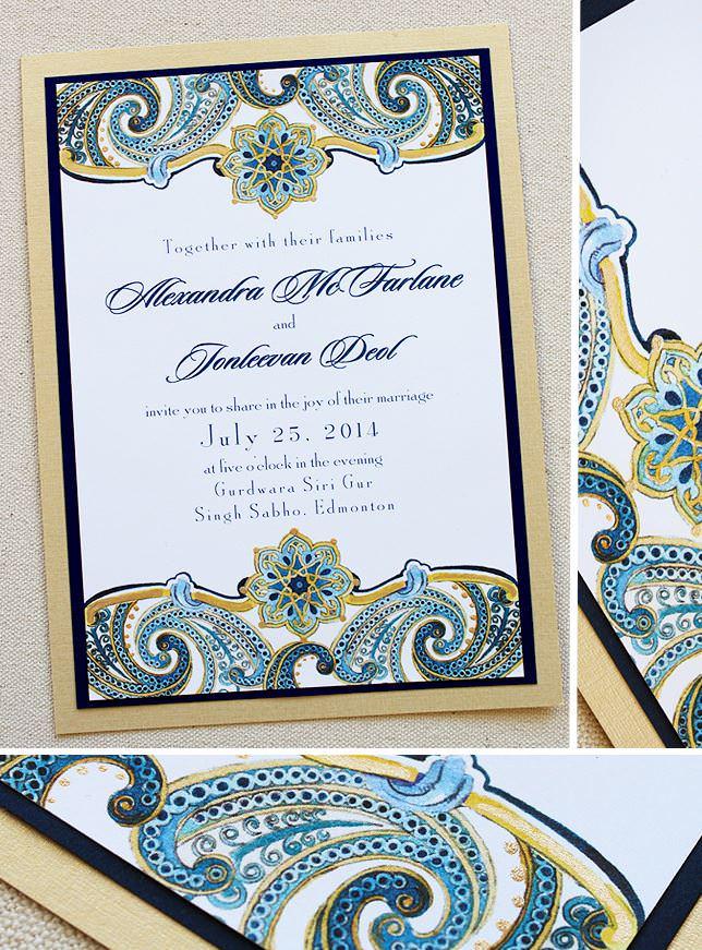 Blue Paisley Wedding Invitations