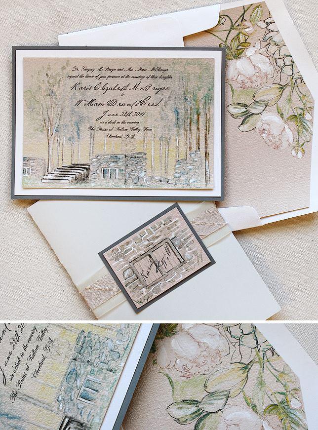 Watercolor Venue Wedding Invitation