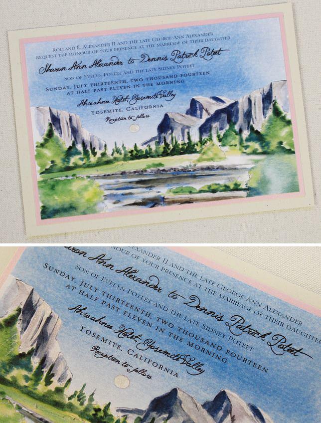 Watercolor Yosemite Landscape Wedding Invitation