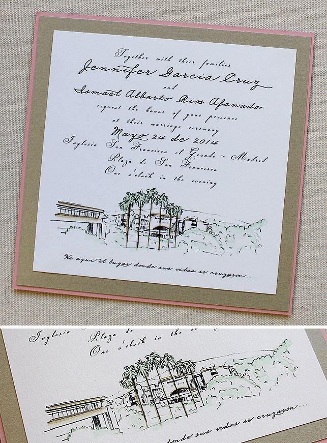Custom Venue Illistration Wedding Invitations