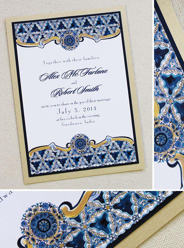 Indian Inspired Pattern Wedding Invitations