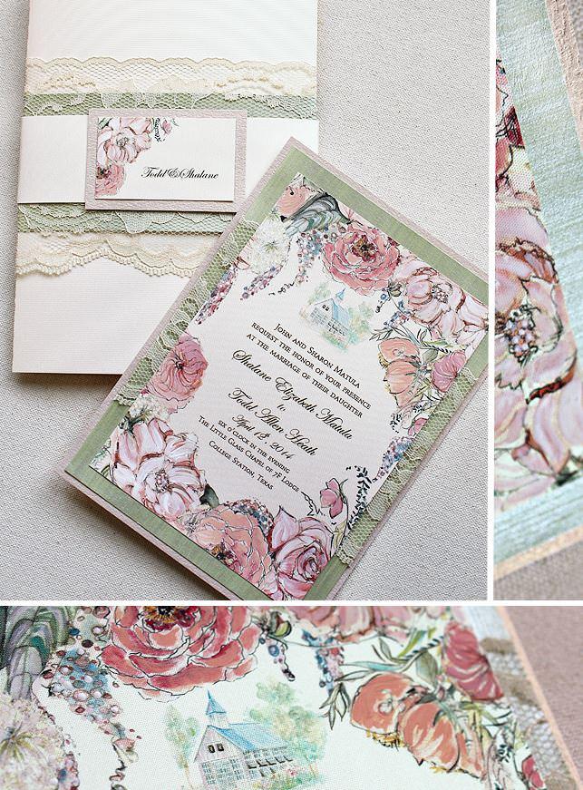 Pink Floral and Custom Venue Illustration Wedding Invitations