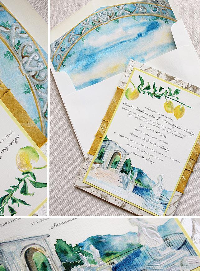 Watercolor Italian Landscape Wedding Invitations