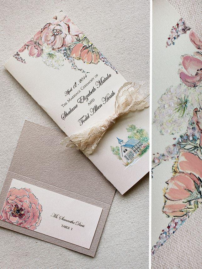 Watercolor Floral Wedding Accessories