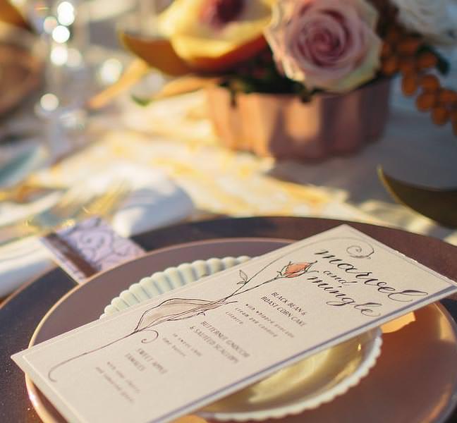 rose gold foil wedding menus