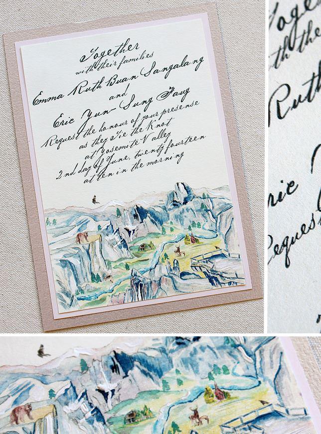 Watercolor Yosemite Wedding Invitations