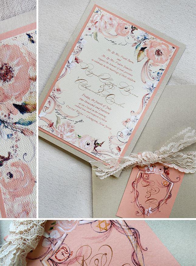 Peach Floral Wedding Invitation