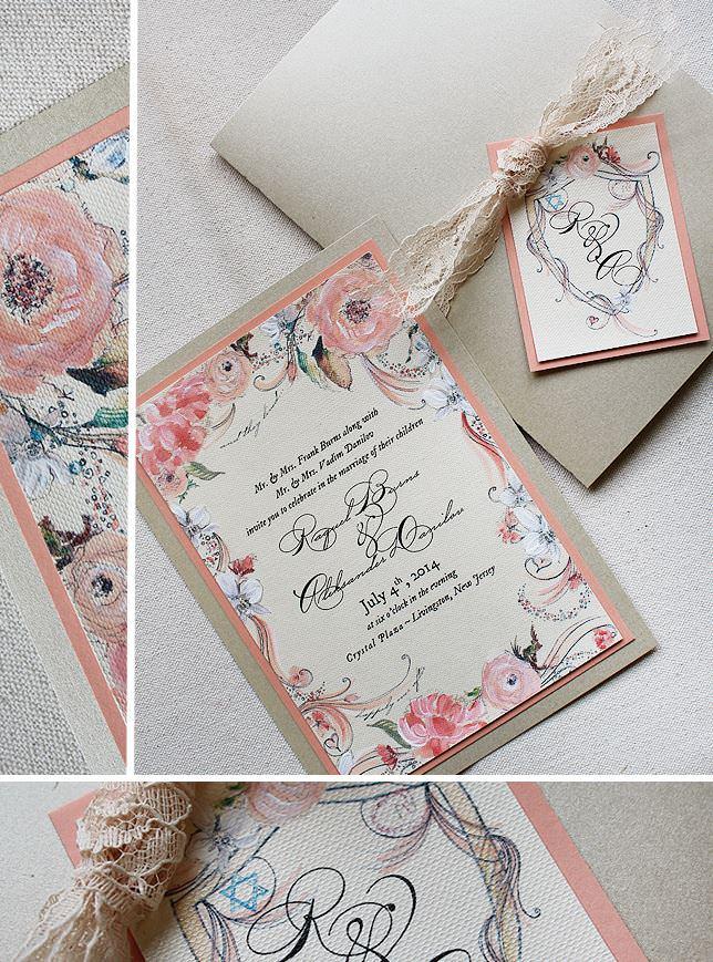 Peach Floral Wedding Invitations