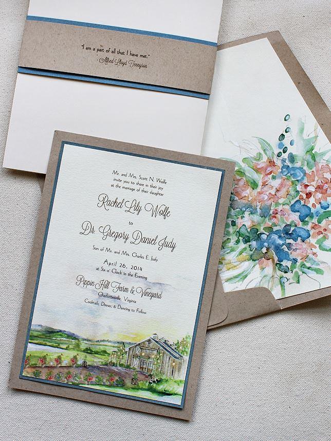 Watercolor Vineyard Landscape Wedding Invitation