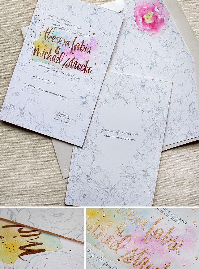 Watercolo Floral Wedding Invitations
