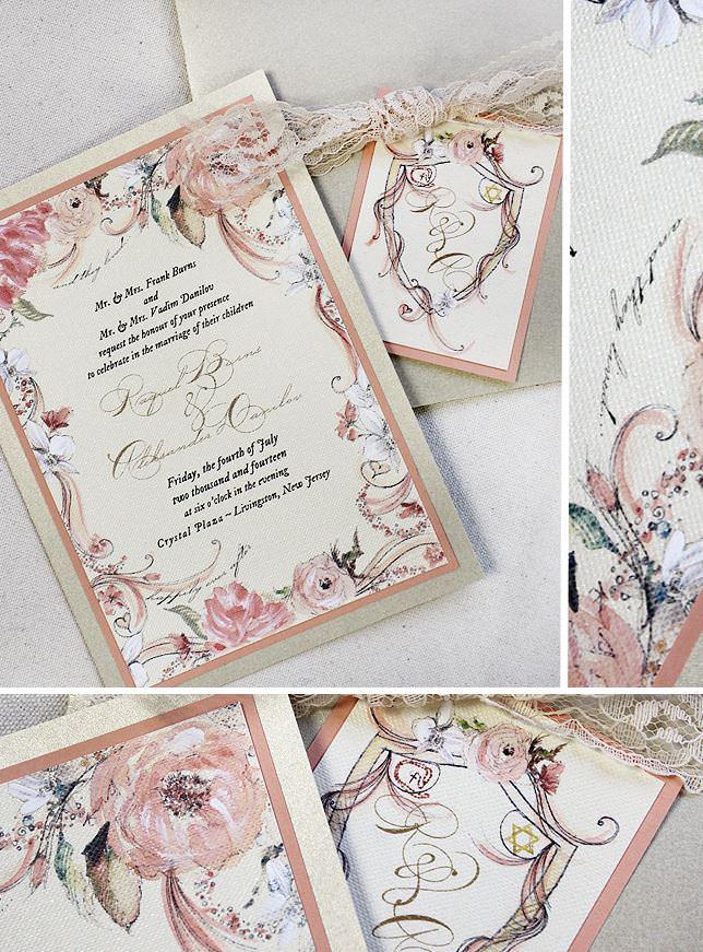 Peach Floral Frame Wedding Invitations