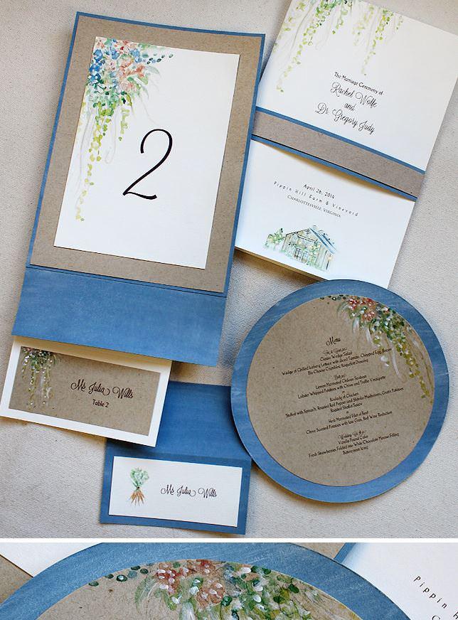 Watercolor Floral Wedding Accessorires