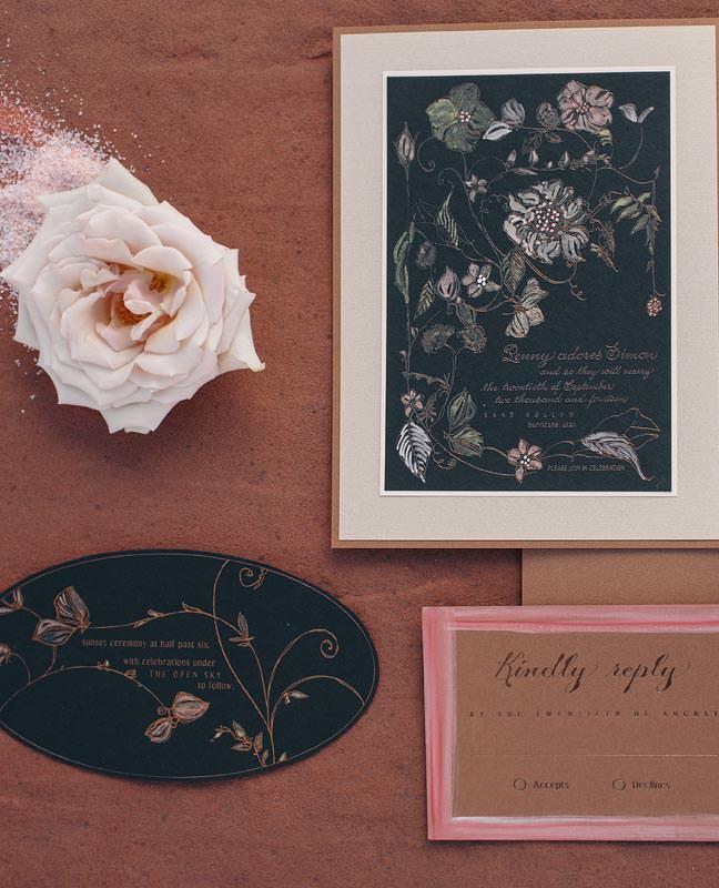 sepia rose gold wedding invitations