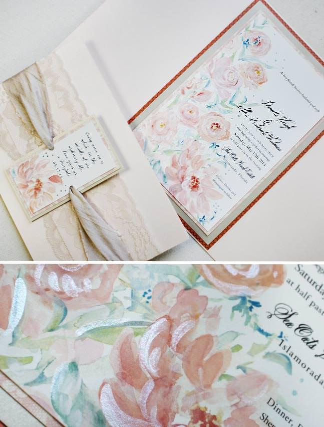 Peach Peony Hand Painted Wedding Invitations