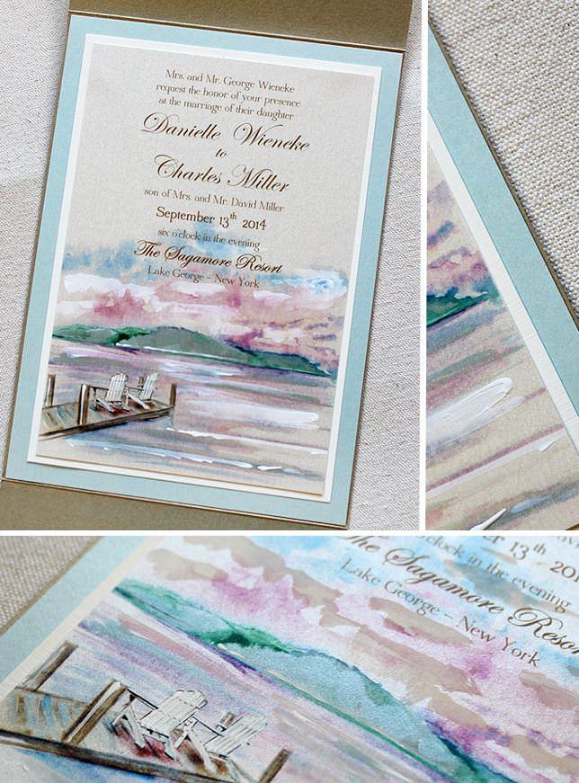 Watercolor Landscape Wedding Invitation