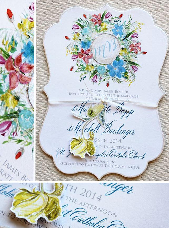 Floral Wreath Wedding Invitation