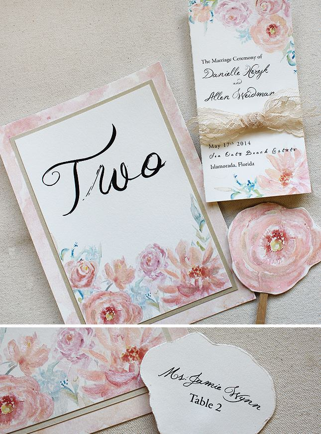 Watercolor Peony and Rose Wedding Day Accesories
