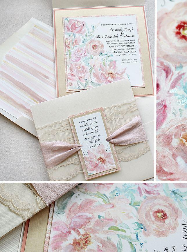 Pink Watercolor Floral Wedding Invitations
