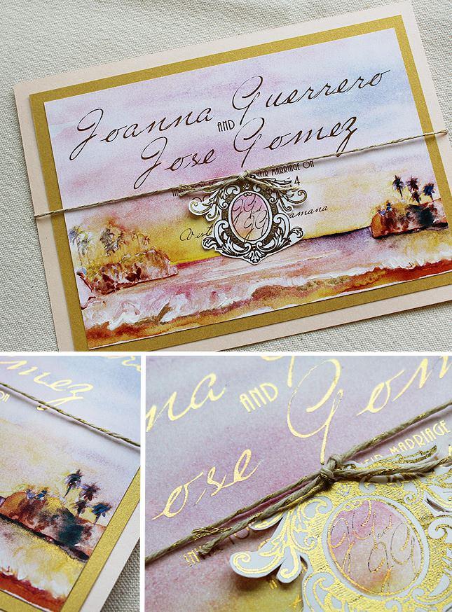 Watercolor Ocean Wedding Invitation