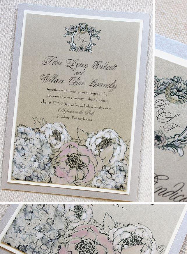 Garden Rose and Hydrangea Wedding Invitations