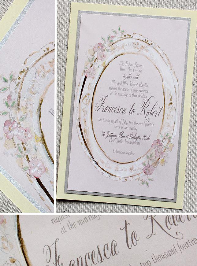 Watercolor Frame Wedding Invitation