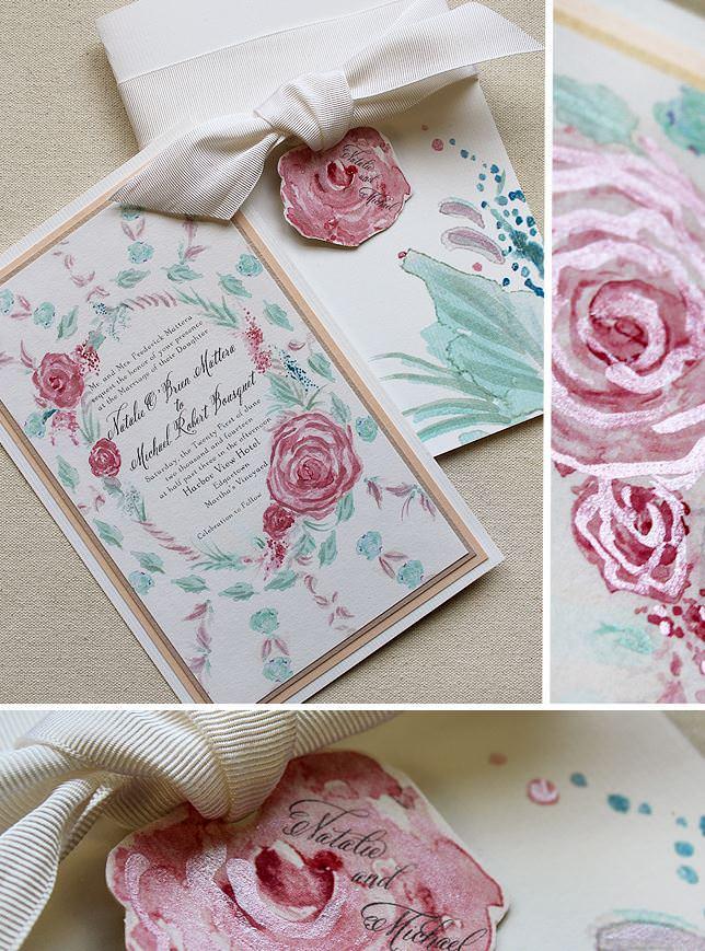 Pink Watercolor Rose Frame Wedding Invitation