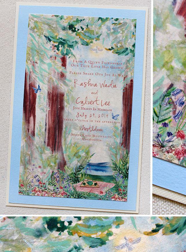 Watercolor Redwood Wedding Invitation