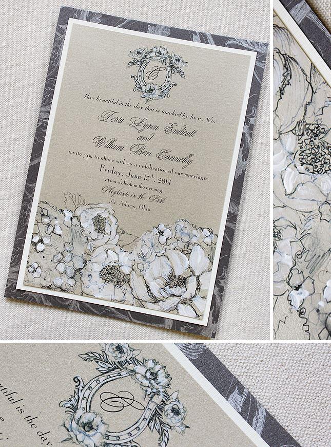 White Hydrandea Wedding Invitations