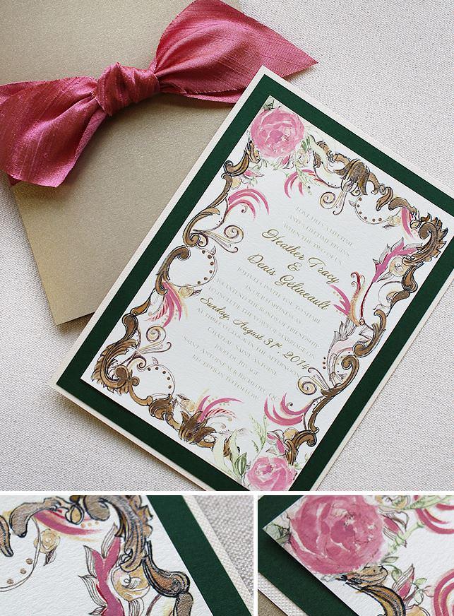 Gold Frame Wedding Invitations