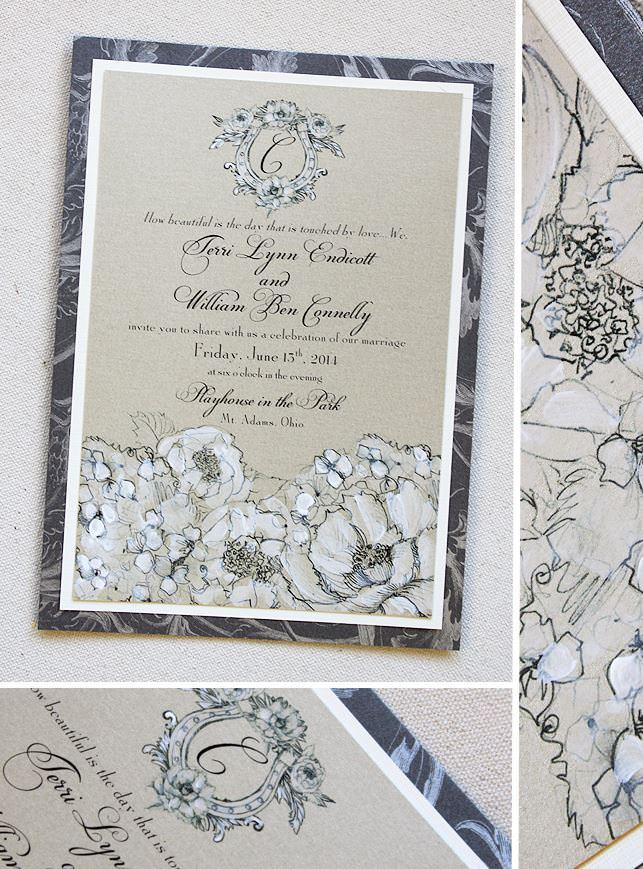 White Hydrangea Wedding Invitations