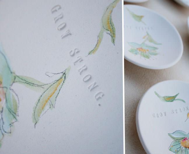 Tiny Text Bowl Hand Painted Palomas Nest