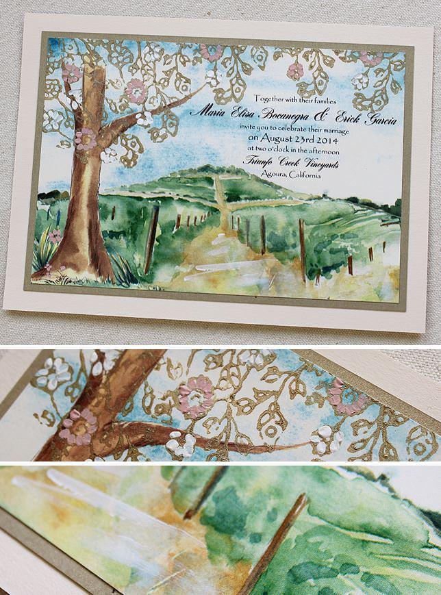 Vintage Lacy Tree Wedding Invitation