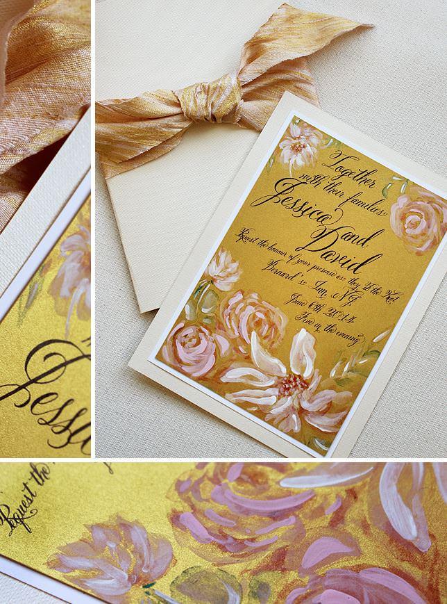 Hand Painted Dahlia Wedding Invitations