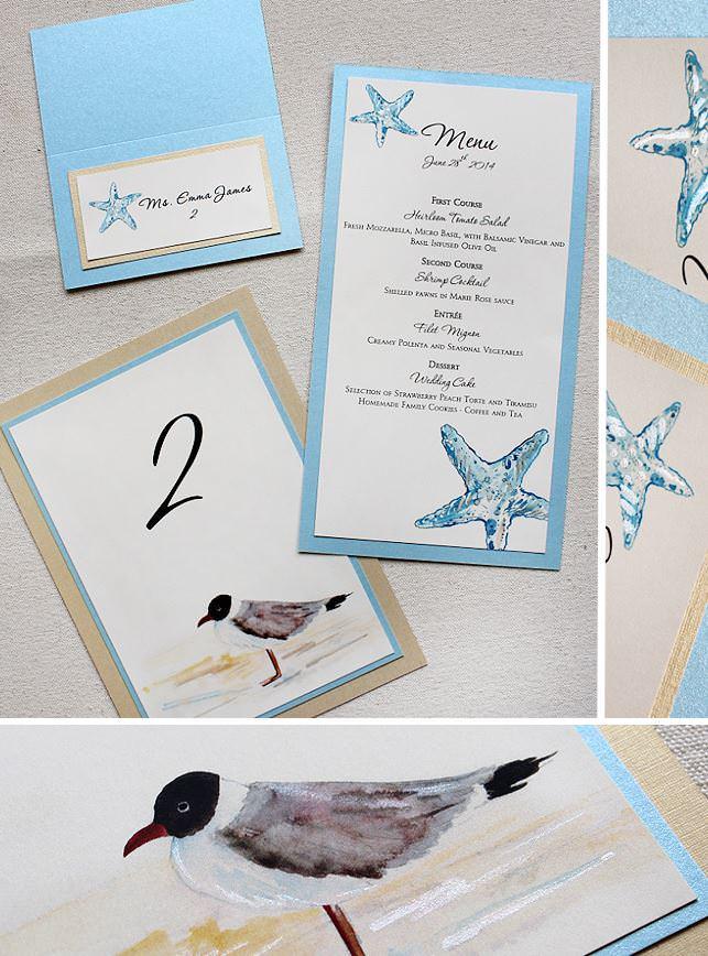 Hydrangea and Starfish Wedding Invitation
