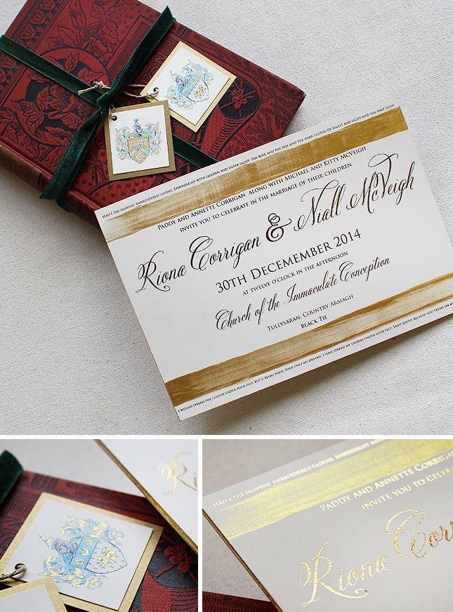 Classic Family Crest Wedding Invitation
