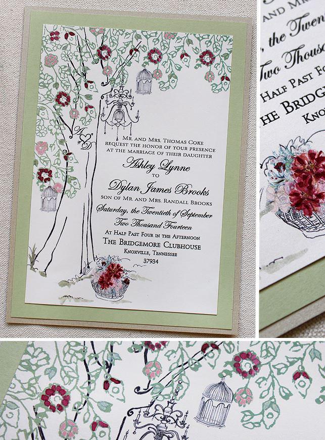 Chandelier Tree Wedding Invitation