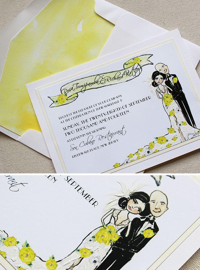 Sketched Portrait Wedding Invitation