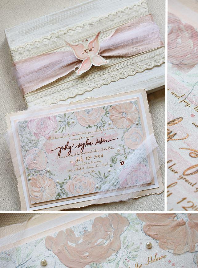 Peach Floral Baby Announcements