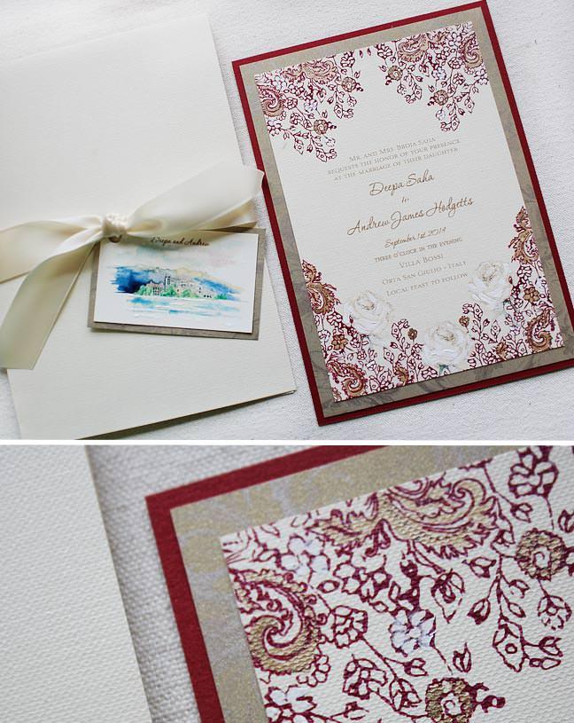 Paisley and Lace Wedding Invitation