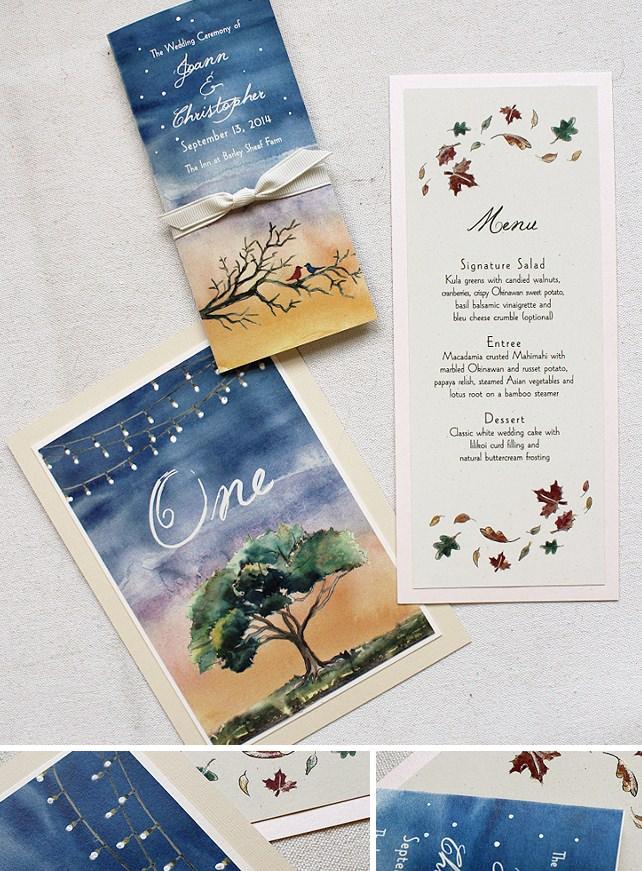 Watercolor Tree Wedding Accessories