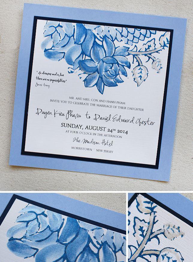 Blue Lotus Wedding Invitation